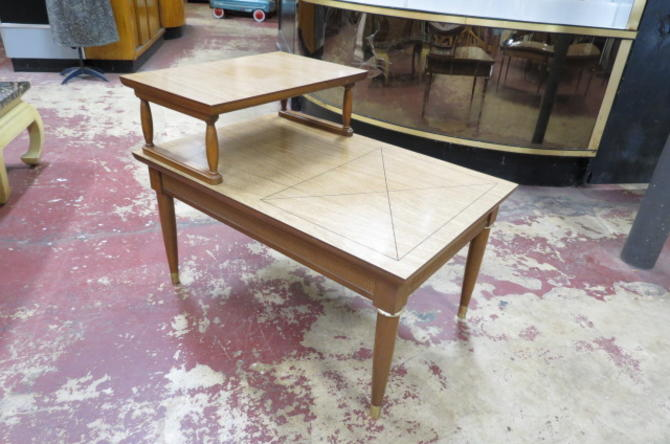 SALE! Vintage Mid century Walnut step side table