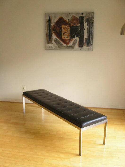 High Quality Danish Modern Stainless Steel & Leather Museum Bench Sofa Chair Knoll / Herman Miller Style by RetroSquad