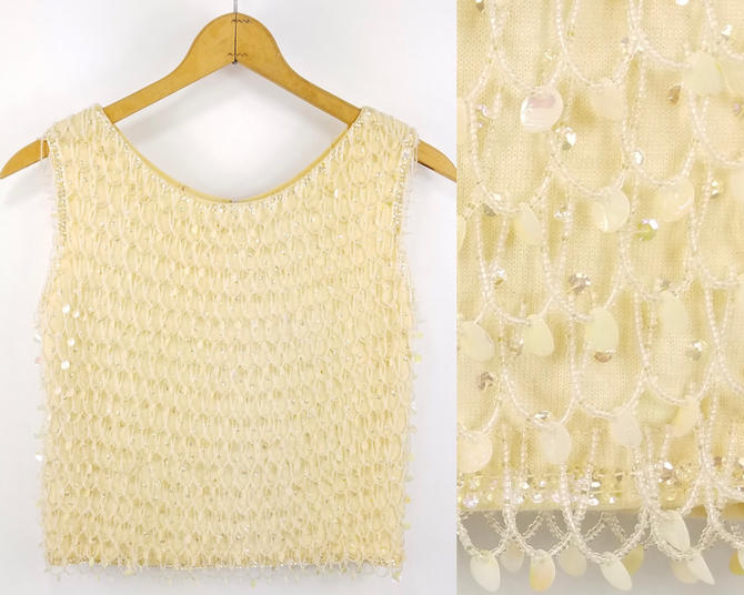 50s Beaded Top, Sleeveless Knit Sequined Blouse, Beaded Cocktail Shell, 50s Party Top, Vintage Beaded Blouse, Fancy Tank Top Cream Champagne by SlimeWarpVintage