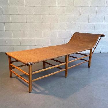 Midcentury Craftsman Rattan Chaise Longue
