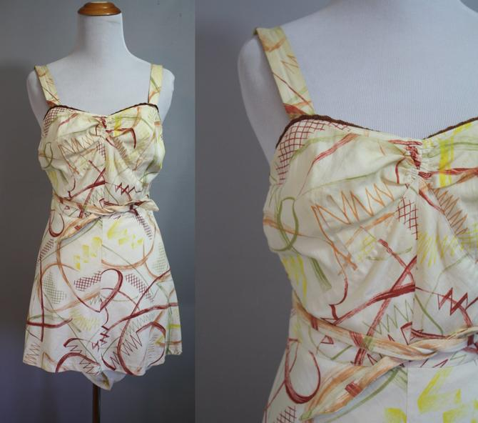 1940's Swimsuit // Novelty Print One Piece // Medium by LawrenceOfBaltimore