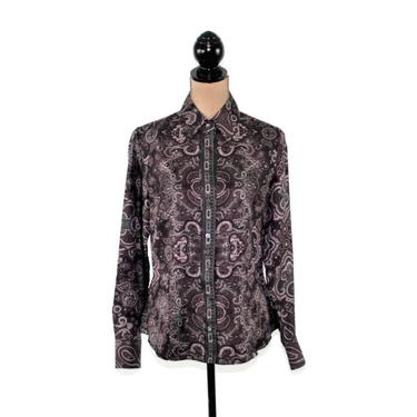Long Sleeve Silk Blouse Purple Paisley Shirt Women Button Up Top Medium Womens Clothes Size 8 Ann Taylor 90s Vintage Clothing by MagpieandOtis