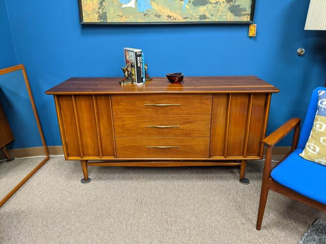 Mid-Century Modern walnut credenza with bowed front