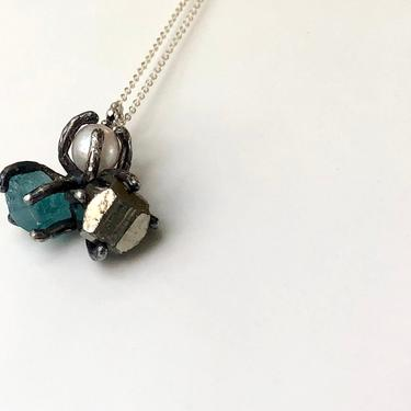 Turquoise Pearl and Apatite Trio Pendant in Oxidized Sterling Silver by RachelPfefferDesigns