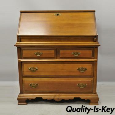 Vintage Bassett Furniture Maple Wood Colonial Style Fall Front Secretary Desk