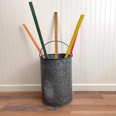 Galvanized metal cylinder can - vintage storage or wastebasket by NextStageVintage
