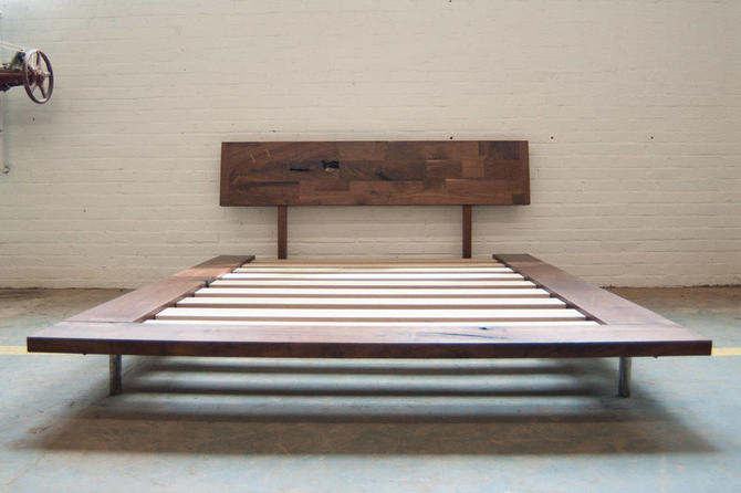 Solid Wood Platform Frame Bed - Walnut by dylangrey