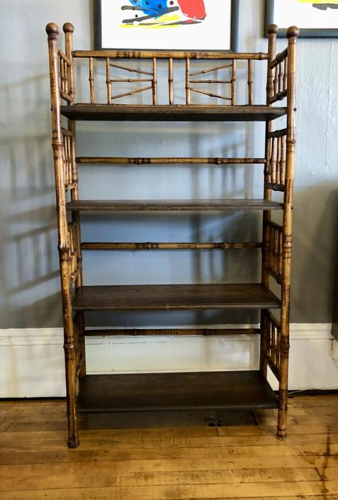 Late 19th Century Scorched Bamboo Bookshelf