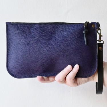 Leather Zipper Clutch, Purple