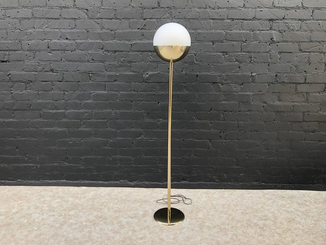 Vintage Swedish Brass Floor Lamp with Original Frosted Globe by VintageSupplyLA