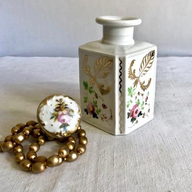 Vintage Hand Painted Porcelain Irice Perfume Bottle with Stopper - Metallic Gilt Gold, Pink Red Roses, made in France, Vanity Jar, Antique by VenerablePastiche