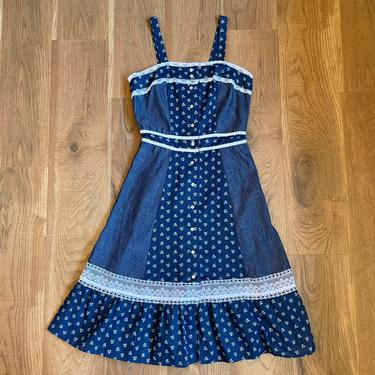 Vintage Gunne Sax Style Calico Prairie Dress Cottagecore Clothing 70s Clothes Medium by LoveItShop