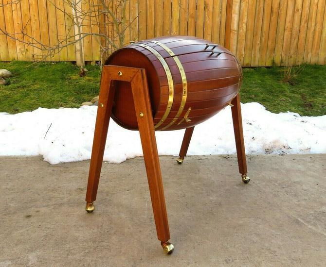 VINTAGE Mid Century WOOD BARREL BAR CART Liquor Cabinet WINERY BREWERY Art Decor