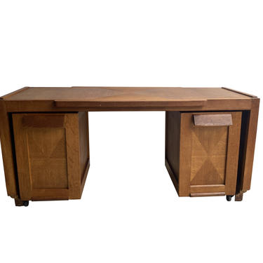 Guillerme & Chambron Desk with Drawer Units, France, 1950's