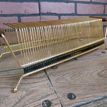 Mid Century MCM Le-Bo Brass Wire Record Holder with Wood Handles by RedsRustyRelics