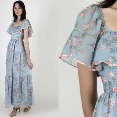 Pink Romantic Rose Maxi Dress / Frontier Country Western Dress / Womens 70s Antique Saloon Dress / Long Full Skirt Prairie Maxi Dress by americanarchive