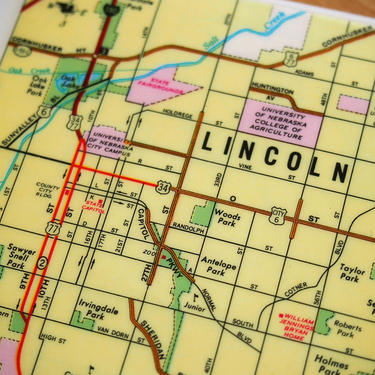 1981 Lincoln Nebraska Map Handmade Coaster - Ceramic Tile - Repurposed 1981 Readers Digest Atlas page - One of a Kind by allmappedout