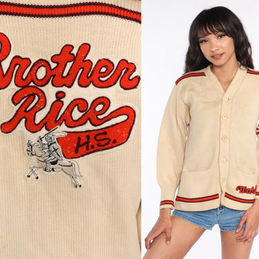 Vintage Varsity Sweater Brother Rice High School Wool Chicago Letterman Cardigan 1960s Sweater Cream Button Up 60s Vintage Small Medium by ShopExile