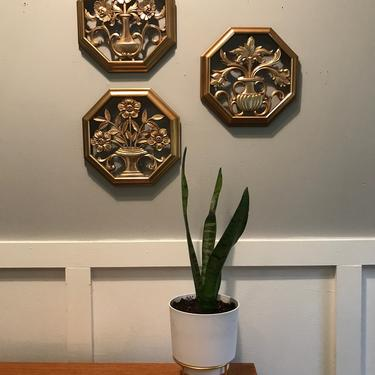 Octagon Wall Art Chinoserie Regency Gold floral set of 3 Syrocco 4368 A B D by VintageCoreReStore