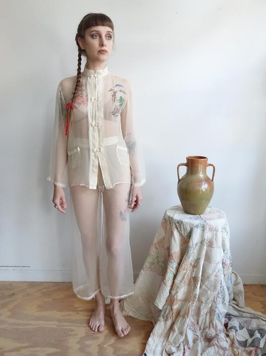 RARE!!! Vintage 40s SHEER Hand Painted Souvenir Silk Pajamas Lounge Set/1940s WWII Japanese See Through Pants Jacket Set/ small by bottleofbread