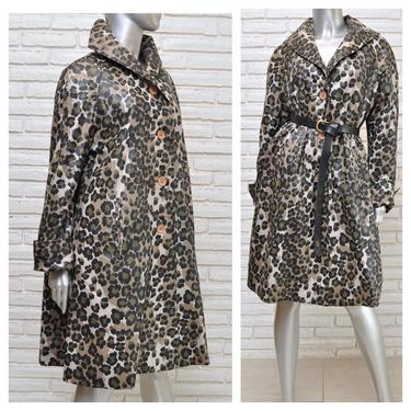 Vintage Leopard Print Swing Rain Coat Army Green Black and Khaki Animal Print Womens Trench by TheUnapologeticSoul