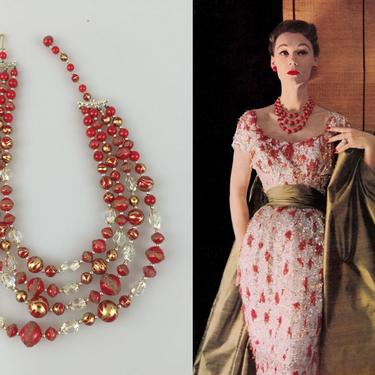 A Regal Entrance - Vintage 1950s 1960s Red & Gold  Lucite Sugar Bead Swirled 4 Strand Necklace by RoadsLessTravelled2