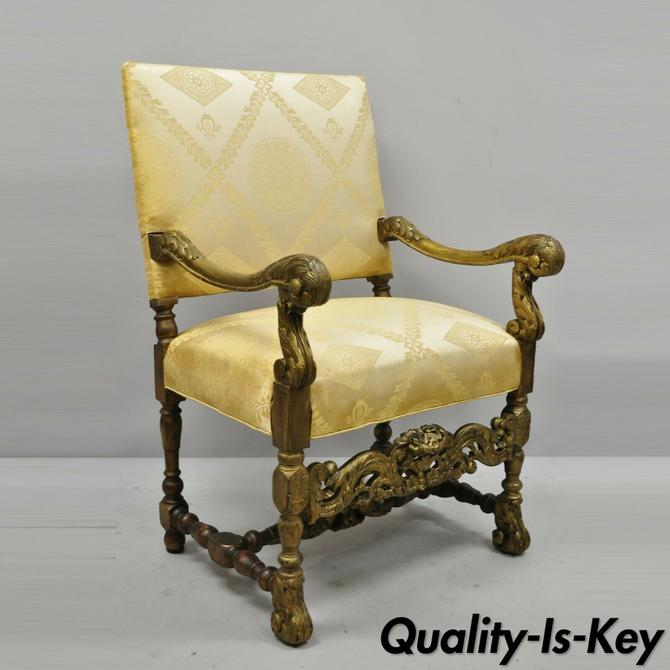 Antique Italian Renaissance Carved Walnut Jacobean Style Arm Chair