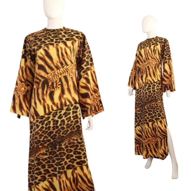 1960s Leopard Print Caftan Maxi Dress - 1960s Leopard Print Dress - Vintage Leopard Print Maxi Dress - 60s Tiger Novelty Print | Size Small by VeraciousVintageCo