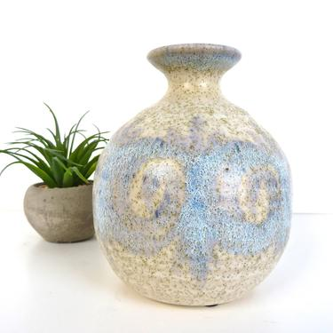 Mid Century Modern Pottery Bud Vase, Vintage Wabi Sabi Stoneware Weed Pot, Contemporary Pottery Vase, White And Blue Boho Pottery by HerVintageCrush