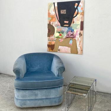 Sky Blue Velvet Swivel Barrel Chair