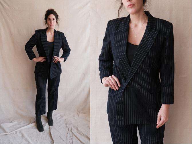 Vintage 80s Pinstripe Pant Suit/ 1980s Navy Blue Double Breasted Blazer and High Waisted Trousers/ Size Medium Large by bottleofbread
