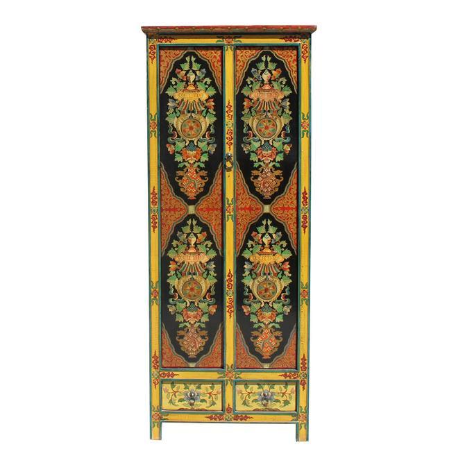 Chinese Tibetan 8 Auspicious Treasure Graphic Tall Slim Cabinet cs5783S