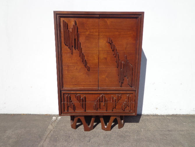 Mid Century Modern Brutalist Dresser Armoire Chest of Drawers Storage Closest Bedroom Storage Furniture Vintage MCM Retro Wood Bohemian by DejaVuDecors