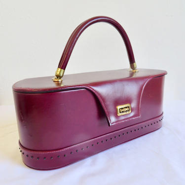 Vintage 1950's Burgundy Red Leather Structured Box Purse Top Handle Gold Closure Hardware Rockabilly Swing 50's Handbag by seekcollect