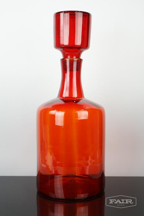 Large Red Blenko Glass Jug with Stopper