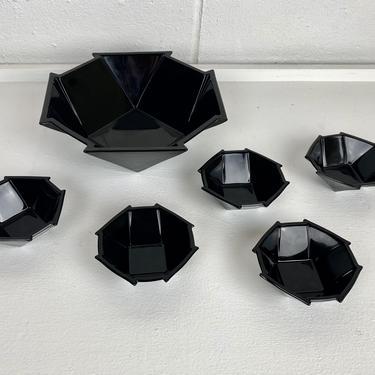 Art Deco Fostoria Glass Company Molded Glass Bowl Set