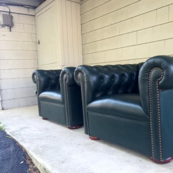 Midcentury Vintage Chesterfield Club Chair Set
