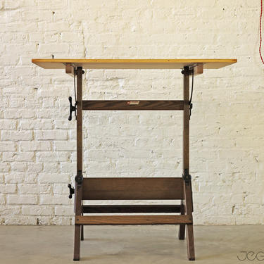 vintage adjustable drafting table by Hamilton Mfg by jeglova