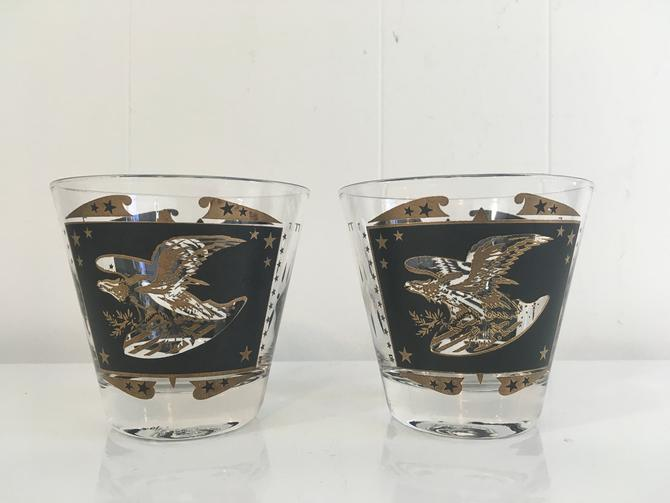 Vintage Eagle Glasses Set of 2 Mid Century Modern Rocks Glass Mad Men Americana Tumblers Retro Barware Cocktail Mid-Century Gold Black MCM by CheckEngineVintage