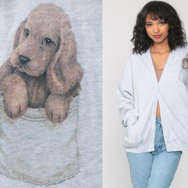 Pocket Puppy Cardigan Sweatshirt Dog Shirt 80s Graphic Animal Sweatshirt Grey 90s Vintage Button Up Novelty Print Grandma Small Medium Large by ShopExile