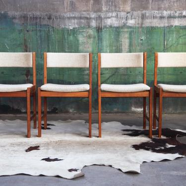 Set of 4! RARE Classic Beauty Scandinavian Design D-Scan Mid Century Danish Teak chairs MCM Beige / Cream colored Wool Denmark Dining by CatchMyDriftVintage