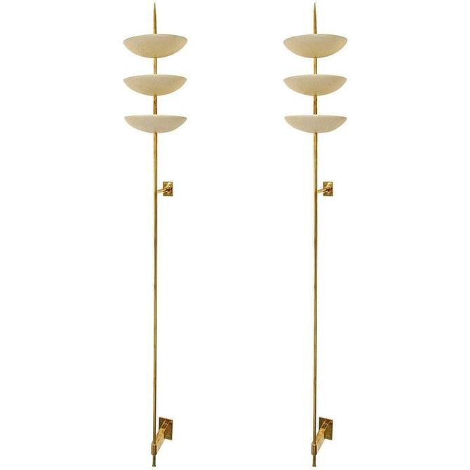 Large Brass and White Metal Bowl Wall Sconces in the Style of Stilnovo