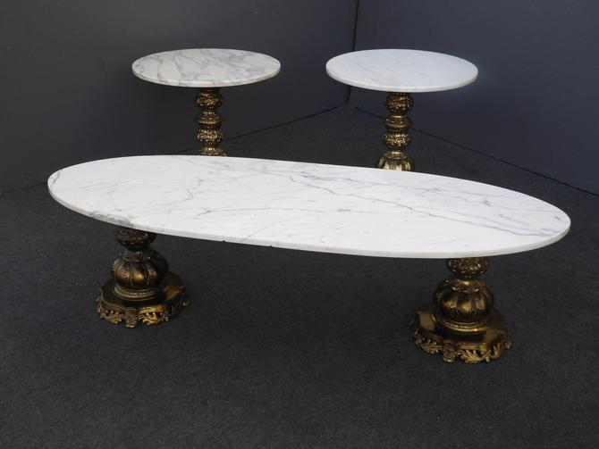 Hollywood Regency White Marble and Gold Coffee Table and Two End Tables by VintageLAfurniture