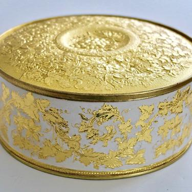 Vintage Guildcraft Gold Grapevine Motif Fruitcake Tin by eClectricityVintage