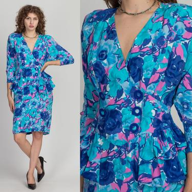 80s Watercolor Floral Peplum Secretary Dress - Medium   Vintage Blue Button Up Fitted Waist Long Sleeve Midi Dress by FlyingAppleVintage