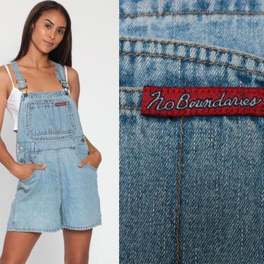 90s No Boundaries Overalls Denim Jeans Shorts Bib Shortalls Women Grunge 1990s Blue Shorts Denim Vintage Small by ShopExile