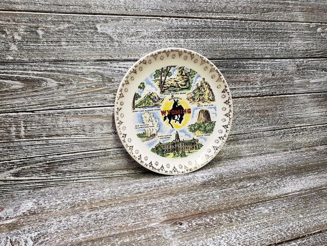 Vintage Wyoming Souvenir Plate, Old Faithful Yellowstone Park, Travel Memorabilia, Cowboy Collectors United States Plate, Vintage Home Decor by AGoGoVintage