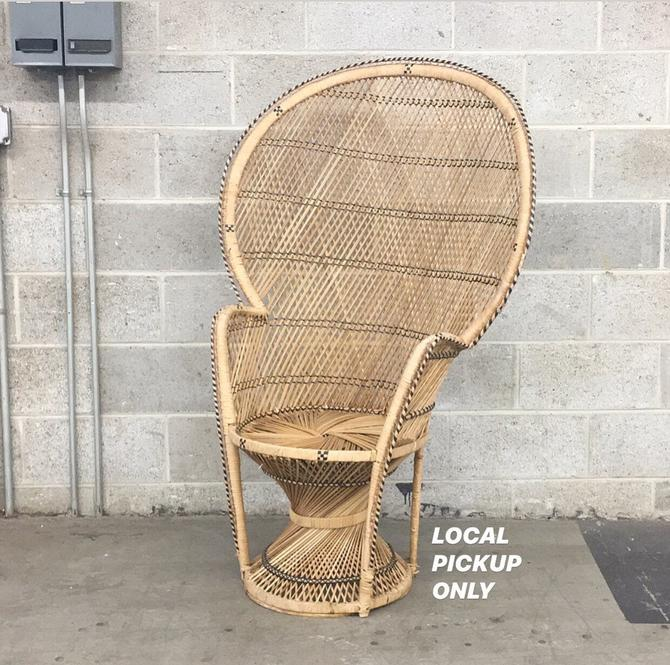 LOCAL PICKUP ONLY ————- Vintage Wicker Peacock Chair by RetrospectVintage215