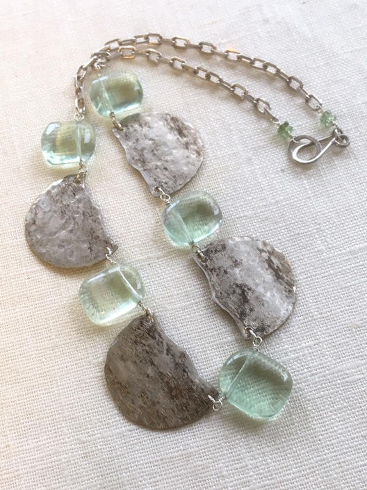 Green Ice [assemblage necklace: vintage silverplate, fluorite, apatite, sterling silver] by nonasuch
