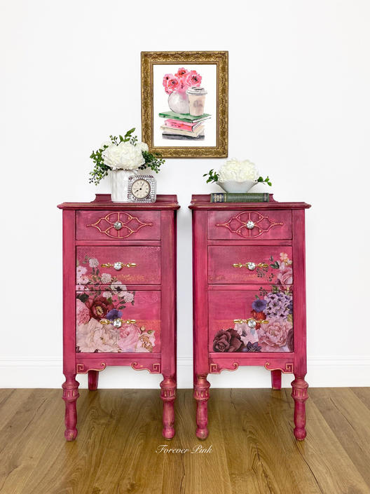 Vintage Three Drawer Nightstands, Bedside Tables, Antique Accent Tables, Painted Bedroom Furniture by ForeverPinkVintage